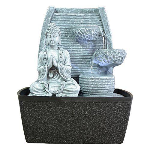 Zen\u0027Light Fontaine d\u0027Intérieur Mur Bouddha Méditation Gris Pierre - fontaine a eau d interieur