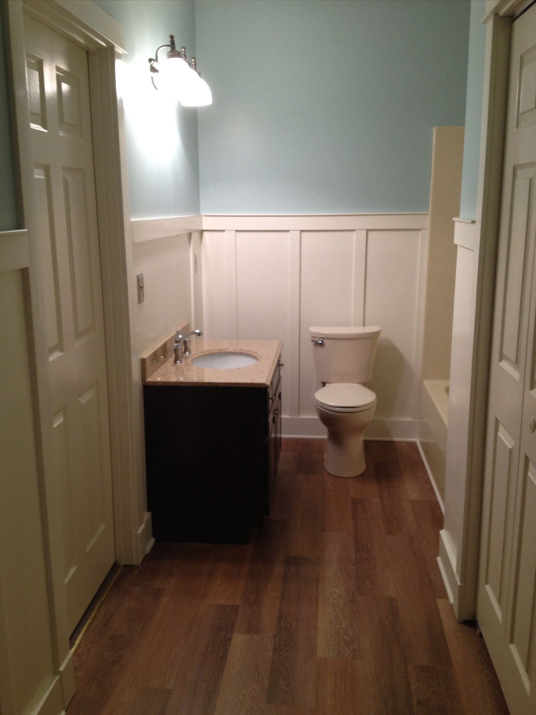 my finished bathroom. Allure resilient flooring, American standard ...