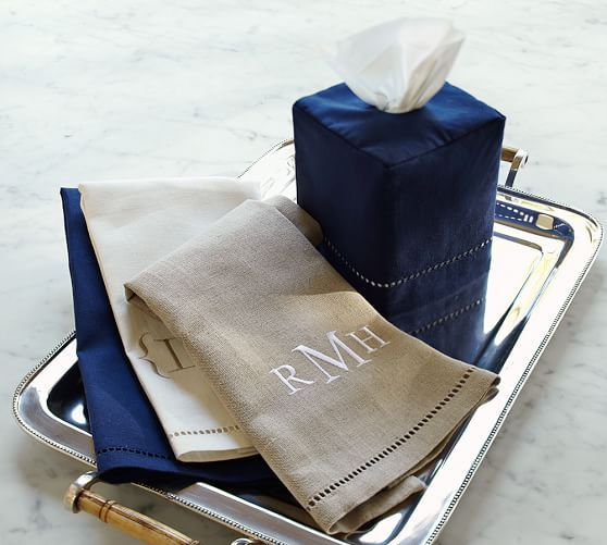 Linen Hemstitch Guest Hand Towels Set Of 2 Guest
