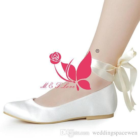 Brand New Cheap Shoes Satin Flats Bridal Lace Up Round Toe Wedding Party WS0133 Customise Size 33 To 43