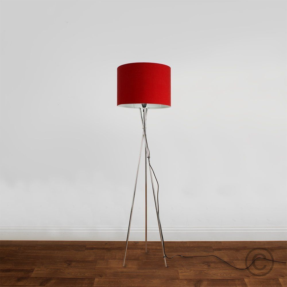 Large Modern Rolla Polycotton Red Cylinder Ceiling Pendant
