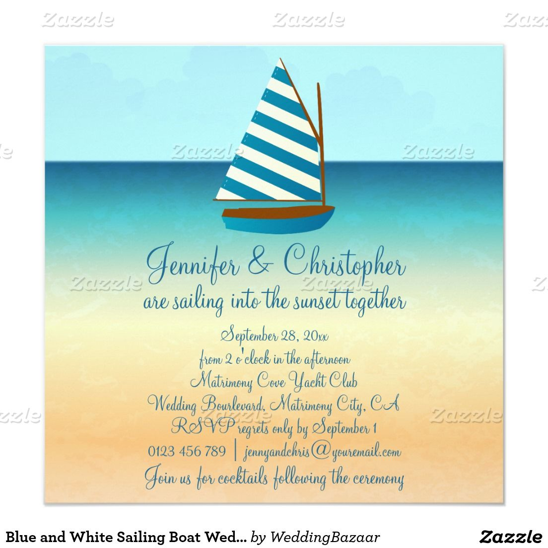 Blue and White Sailing Boat Wedding 5.25x5.25 Square Paper ...
