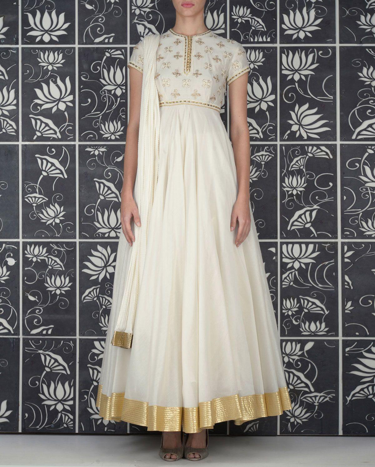 38b7875463 Rohit Bal Ivory Anarkali Suit with Embellished Yoke   kerala half ...