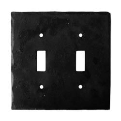 forged iron switch cover plate 2 gang toggle flat black