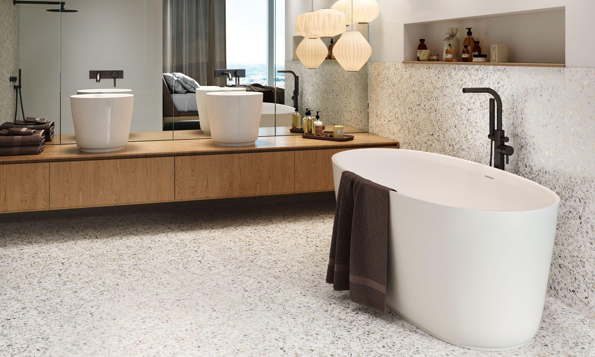 Luxus Bad Design Beige Braun Mosaik Fliesen Spiegel Effekte Badezimmer Braun