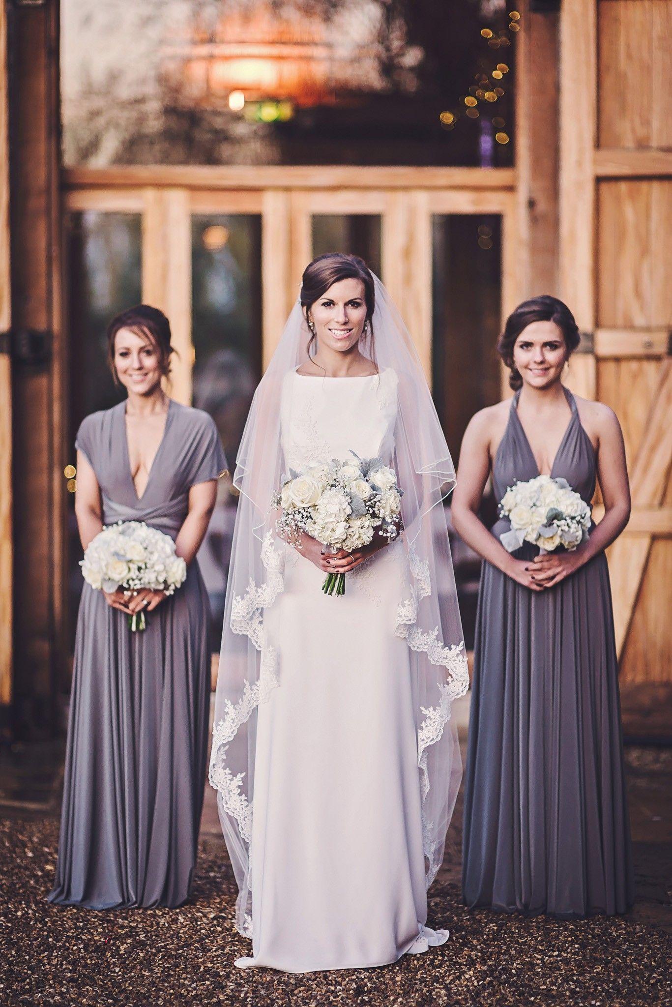 28870848bcd7 Gorgeous deep purple/grey bridesmaid dresses #bridesmaidideas #weddingideas  #bridesmaiddresses