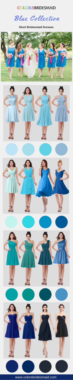 Bridesmaid dresses blue knee length shortmini de novia
