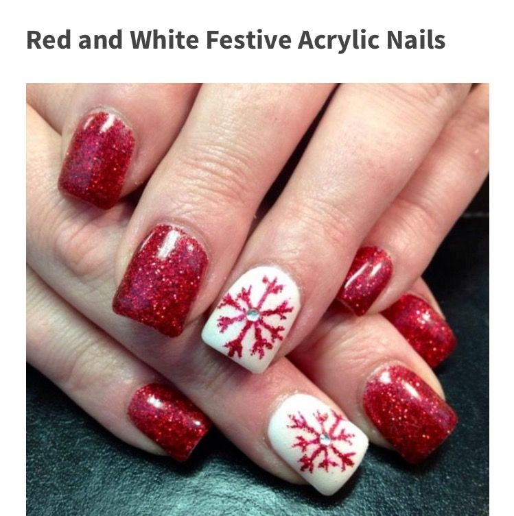 30 Festive Christmas Acrylic Nail Designs Nails By Trudy A Red Snowflake To Go With Some Very Sparkly