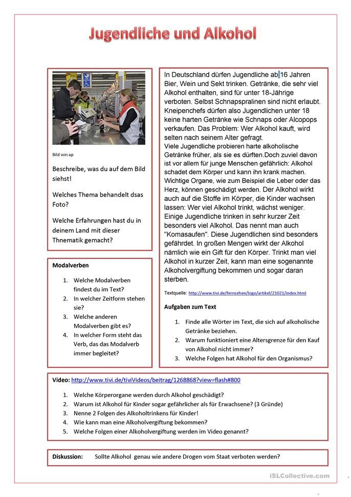 Jugendliche und Alkohol | German, German language learning and ...
