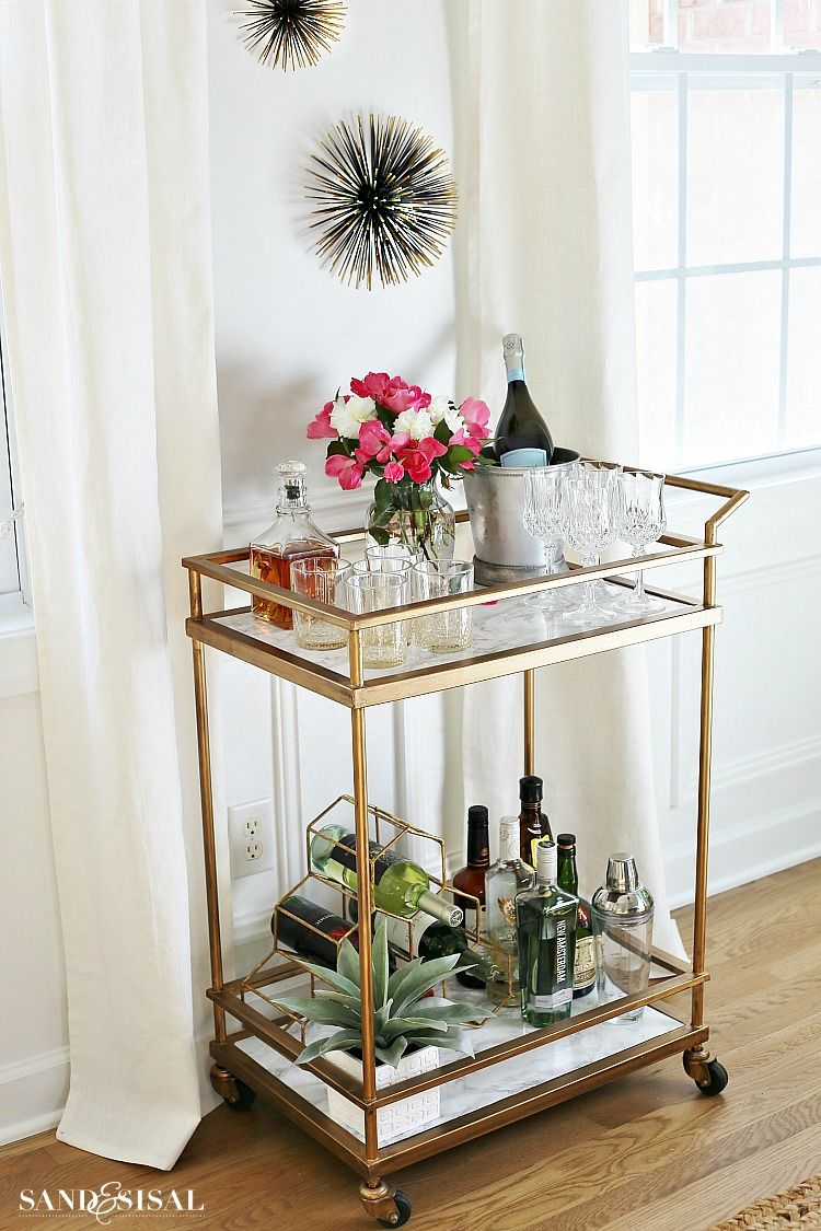 Gold Bar Cart Makeover With Diy Faux Marble