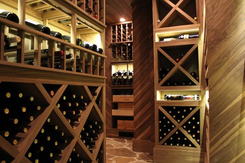 Beautiful example of solid Diamond Bins to include in your home wine cellar.