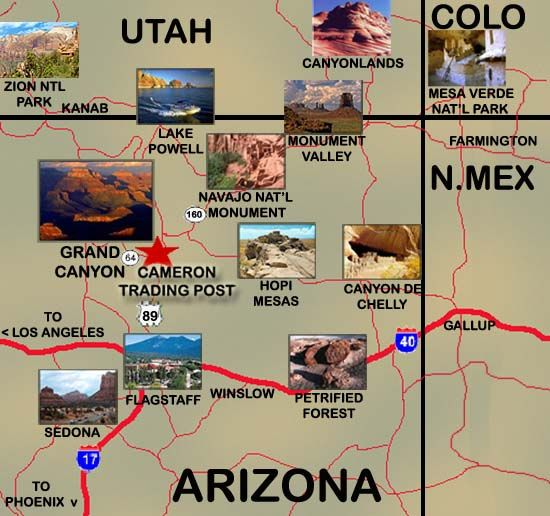 Map Of Sites Near Grand Canyon Cameron S Hotel Area Places