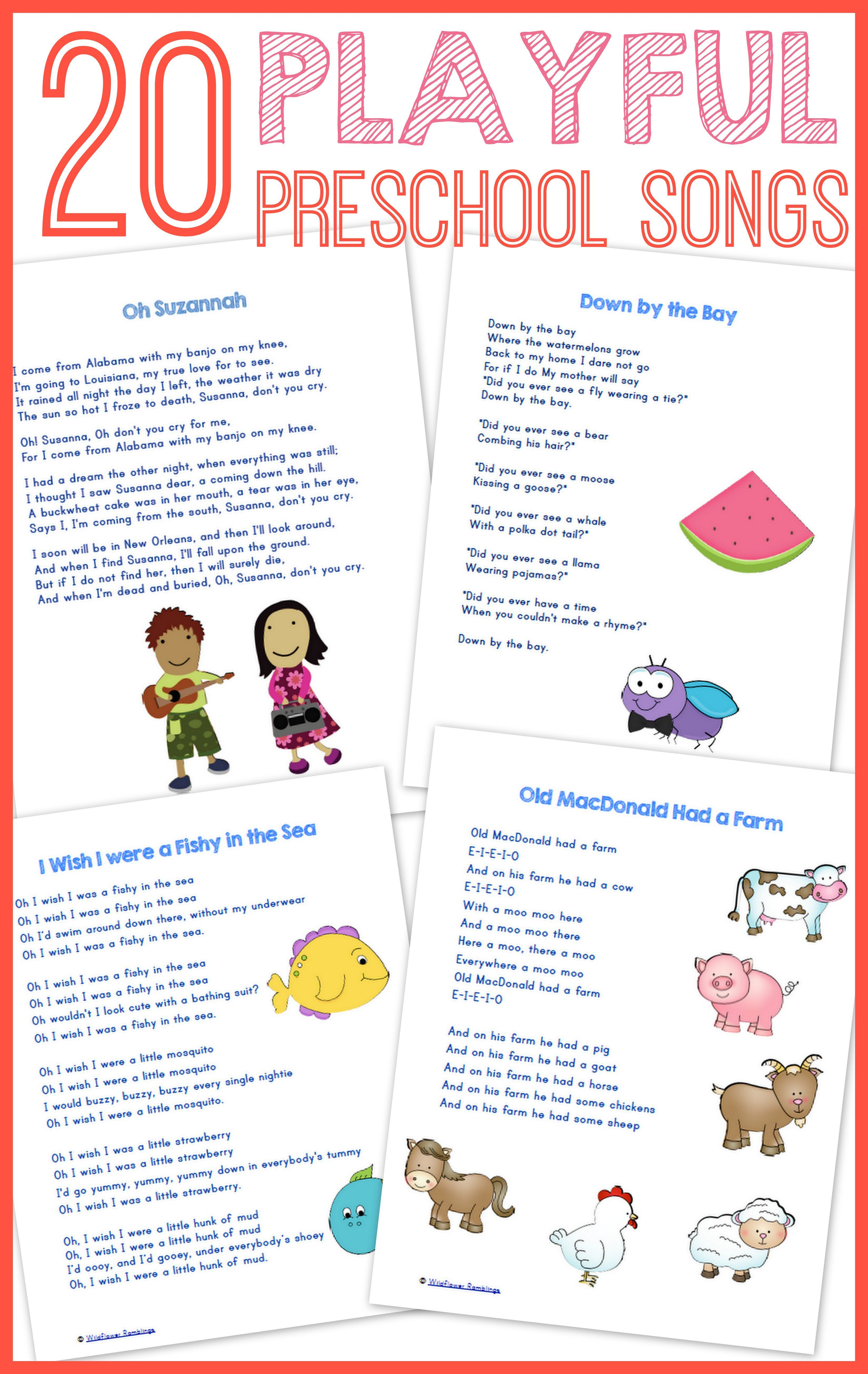 20 best preschool songs free printable preschool songs songs