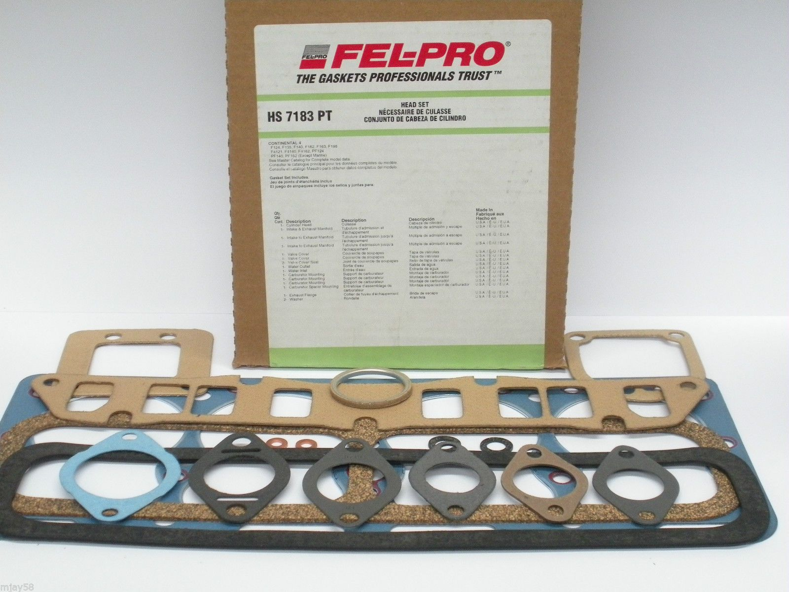 HS7183PT Head Gasket Set Continental Forklift Engine F124