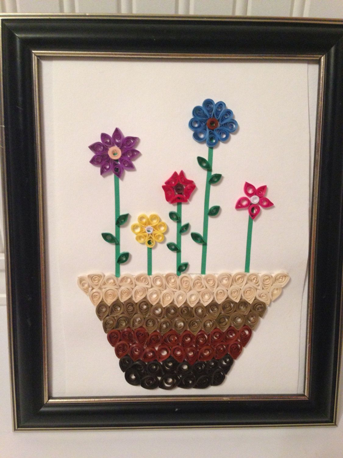 Framed quilling quilling picture flower decor by FunWithWreaths, $20.00
