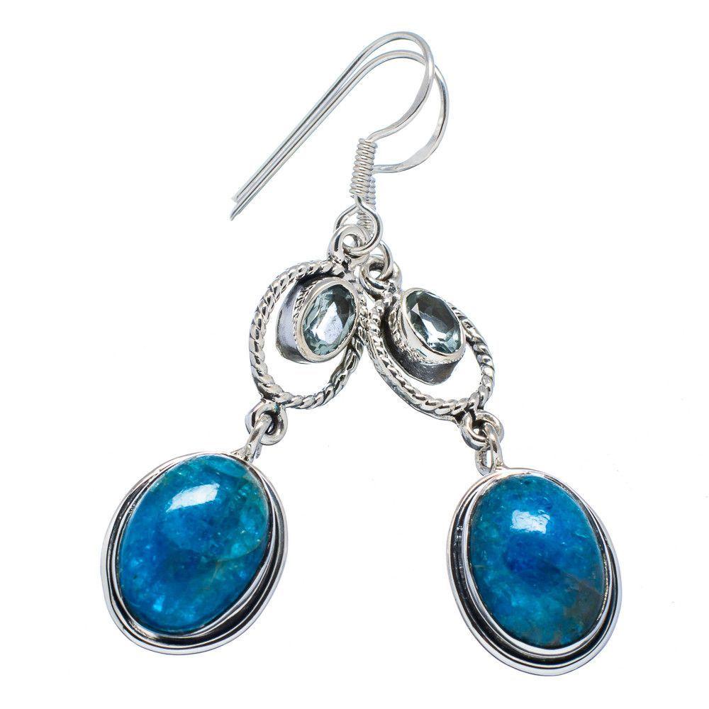 "Natural Apatite, Blue Topaz 925 Sterling Silver Earrings 2"" EARR322199"