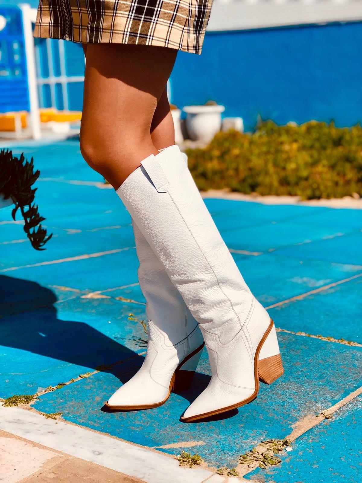 Stivali donna texani alti in pelle bottalata nera made in