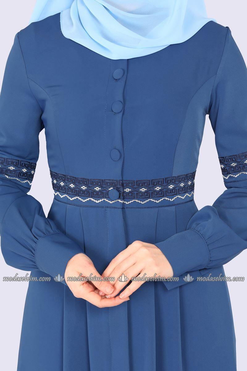 Moda Selvim Pile Detay Nakisli Ferace 9028w153 Indigo Moda Islami Giyim Islami Moda