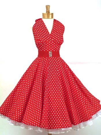 35b6123ca4 Classic Dame 50 s Vintage Reproduction Red   White Polka Dot Halter Swing  Dress