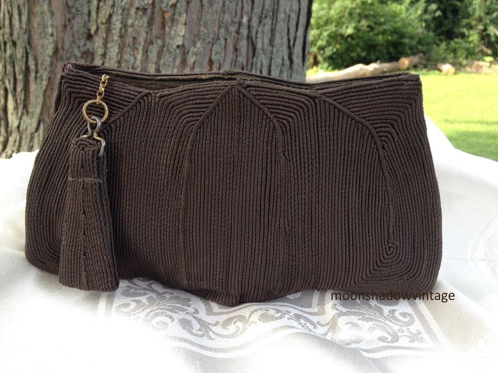 Vintage 1940s CORDE Brown Fabric Gimp Handbag Evening Clutch Bag Finger Strap #GenuineCorde #ClutchEveningBag