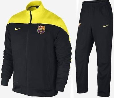 NIKE FC BARCELONA SQUAD SIDELINE WOVEN WARM UP TRACKSUIT Black/Yellow Tour.