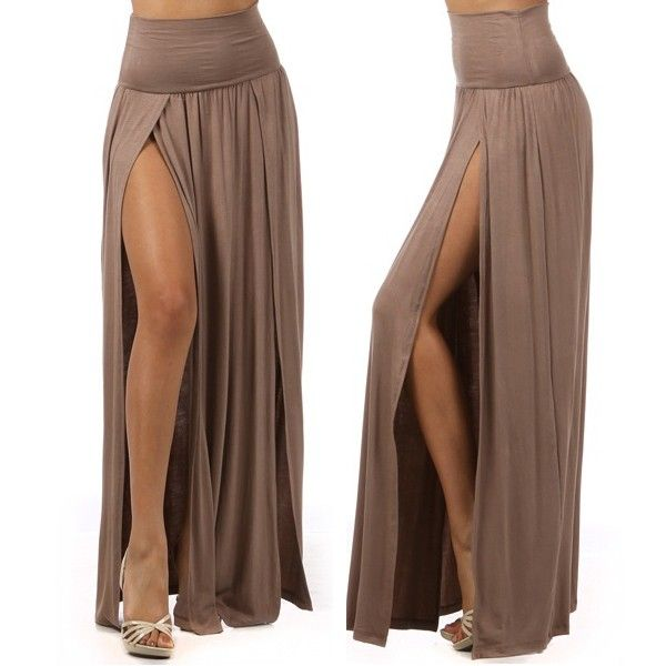 High Waisted Slit Maxi Skirt