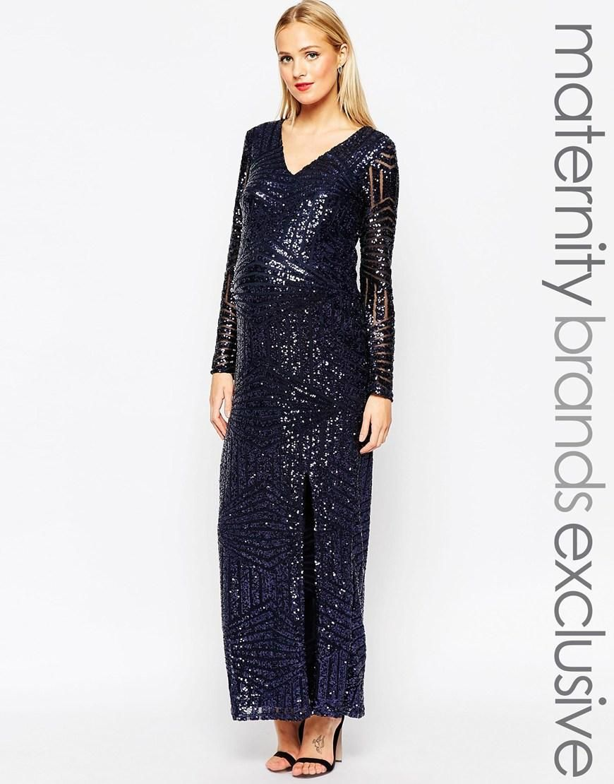 b851b0373944e Club L Maternity | Club L Maternity Sequin Embellished Maxi Dress With  Plunge Front at ASOS