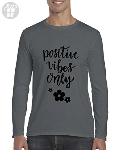 Ugo Positive Vibes Only Christmas Birthday Humor Gift Match w Hats Bags Jeans Softsyle Long Sleeve Men's T-Shirt Tee - Birthday shirts (*Amazon Partner-Link)