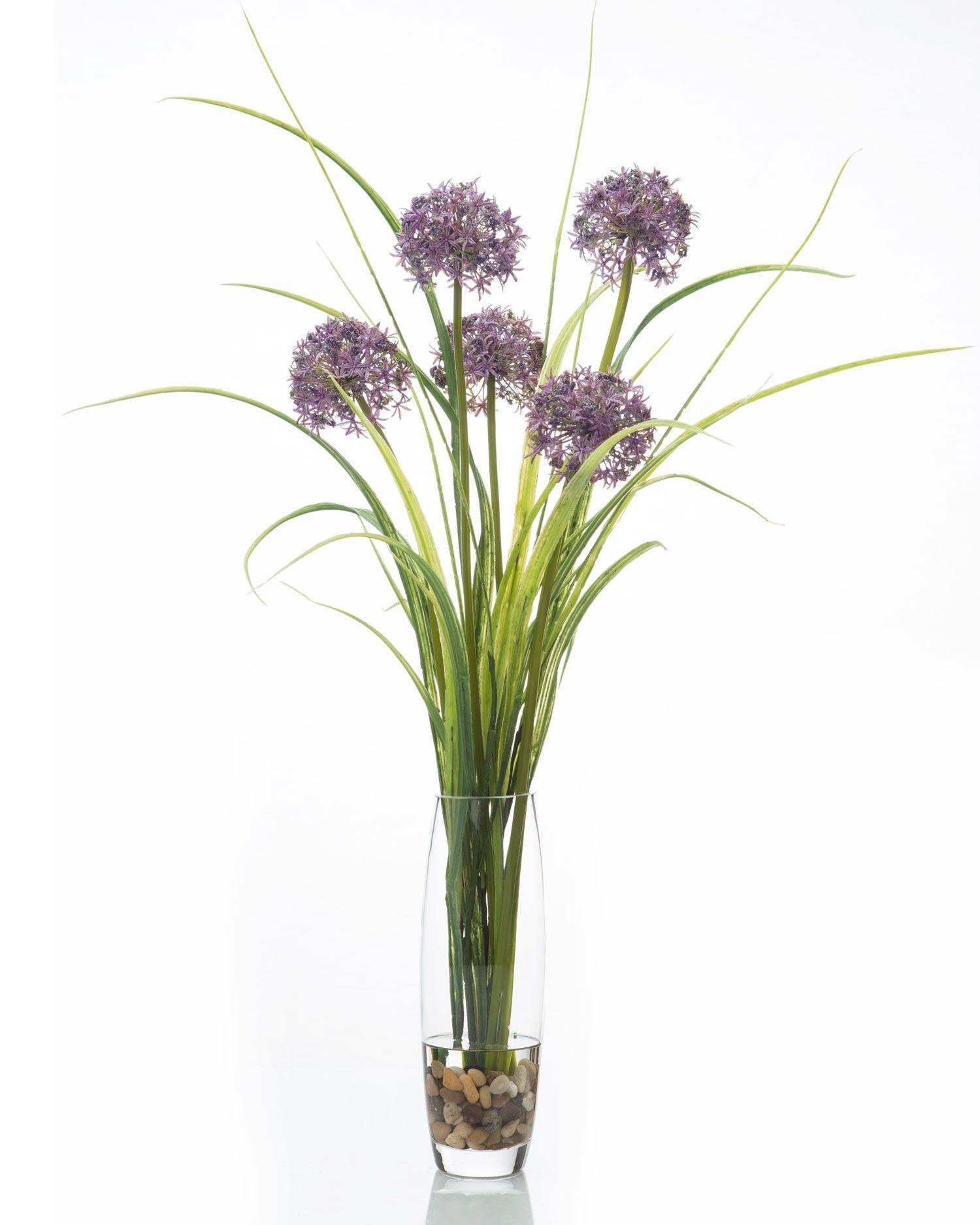 Tall allium grass artificial floral arrangement quality faux florals pinterest for Arrangement floral artificiel