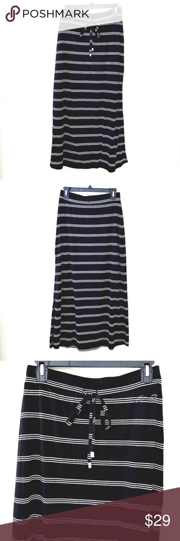 a2fe68a1929 Seven7 // Black & White Stripe Maxi Tee Skirt Seven7 Lightweight t ...
