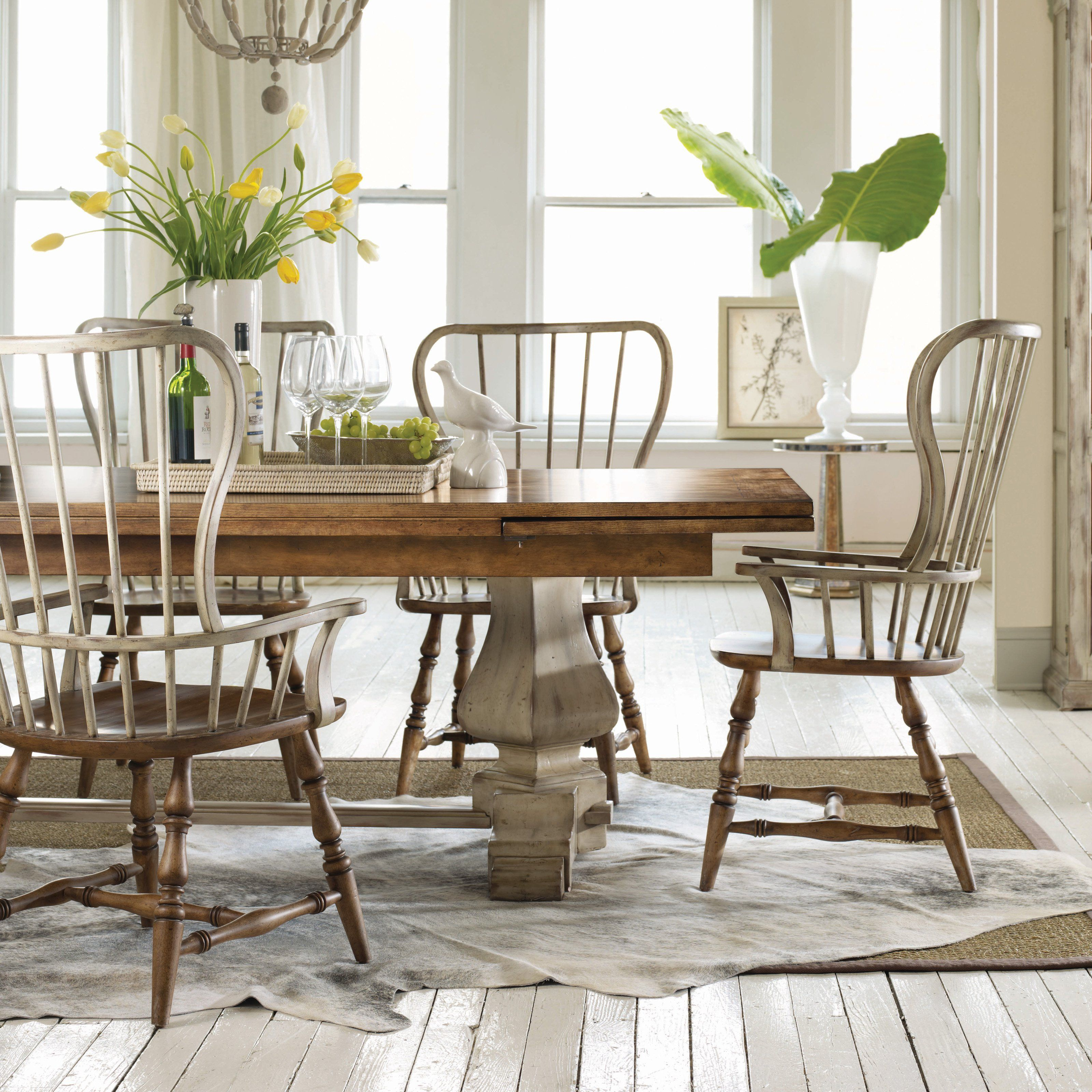 contemporary country furniture. Hooker Furniture Sanctuary 7 Piece Refectory Trestle Dining Set With Spindle Chairs - Add Contemporary Country