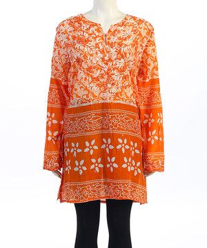 Seven Karat Orange & White Floral Embroidered Notch Neck Tunic - Plus by Seven Karat #zulily #zulilyfinds