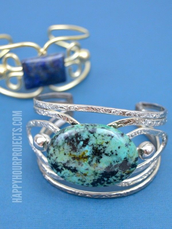 Easy DIY Stone Cuff Bracelets at www.happyhourprojects.com | A one ...