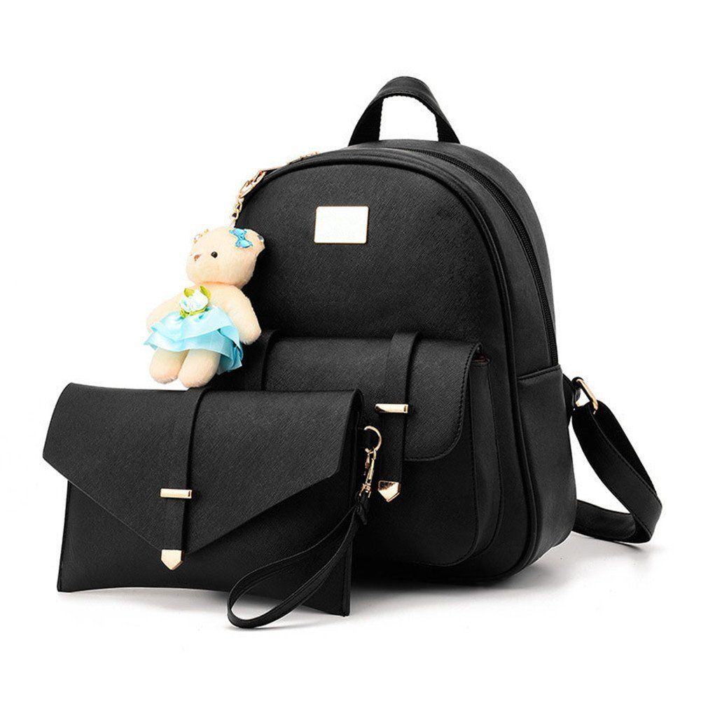 53c8618b5097 Hynbse Womens Fashion Summer Cute Korean PU Leather Backpack Shoulder Bag  Pink  Handbags  Amazon.com