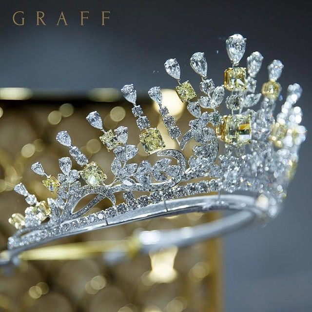 Crowning beauty: Showcased at Graff's Cyprus store opening event last week, this exceptional tiara featuring over 177 carats of striking yellow and white diamonds. #GraffDiamonds #GraffCyprus