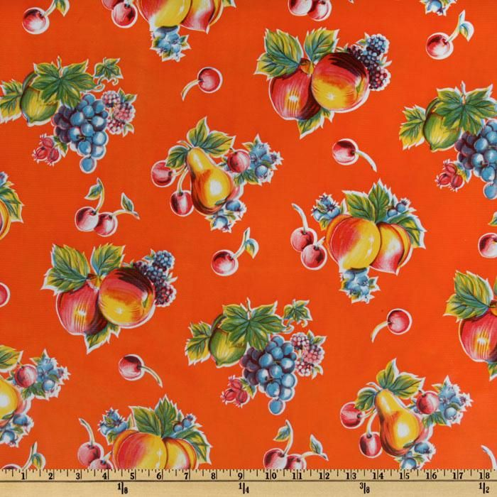 Pears and Apples Blue OilCloth Full Bolt 12 Yards