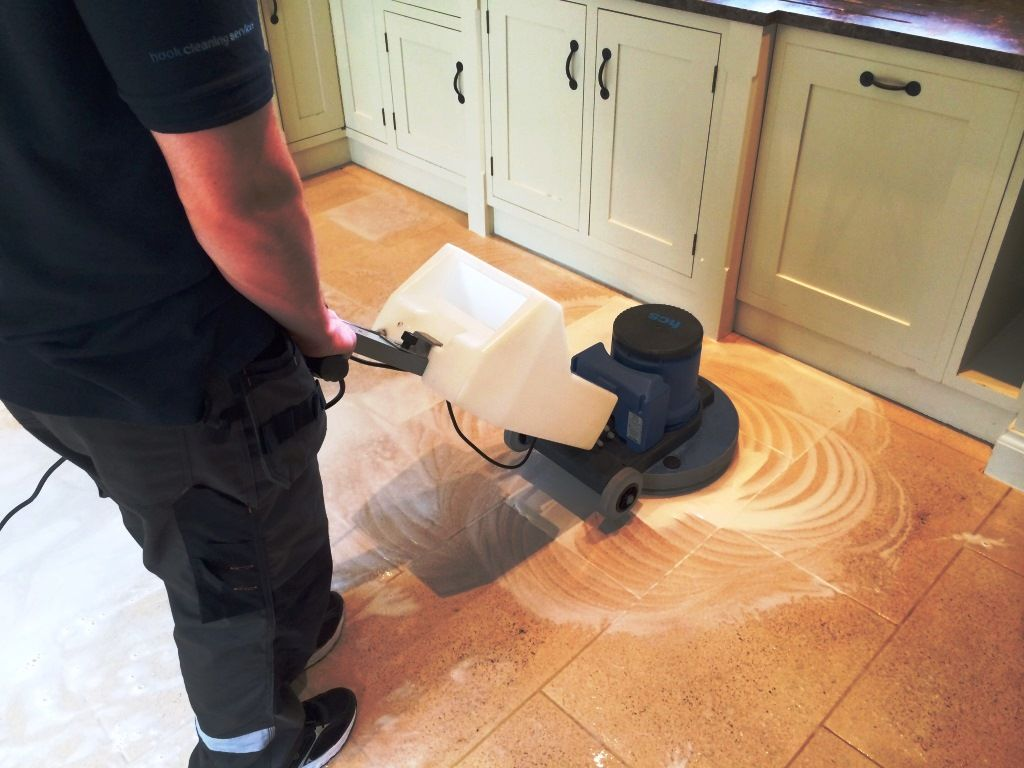 Soiled Limestone kitchen floor deep cleaned and sealed in Crookham ...