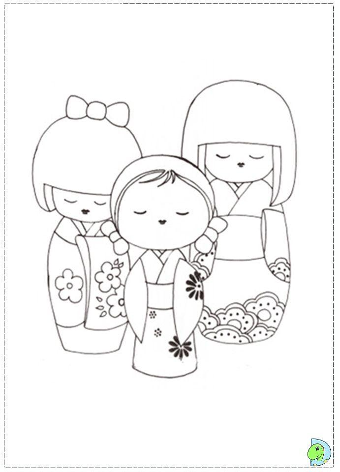 Kokeshi Dolls Coloring Page Dinokids Org Kokeshi Dolls Kokeshi Coloring Pages