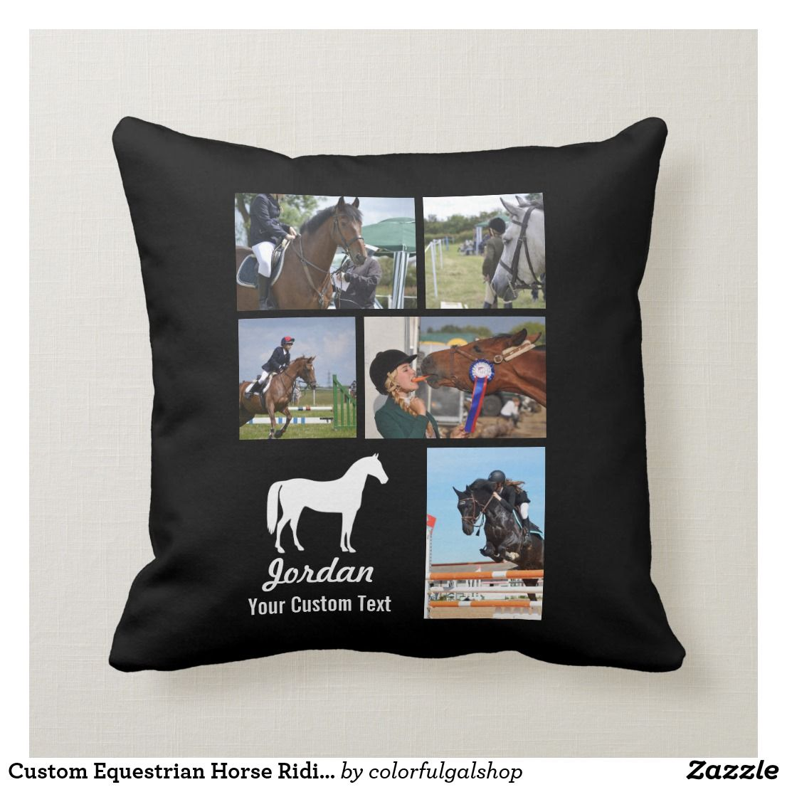 Custom Equestrian Horse Riding Photo Collage Name Throw Pillow Zazzle Com Horse Riding Equestrian Throw Pillows Horse Throw Pillows
