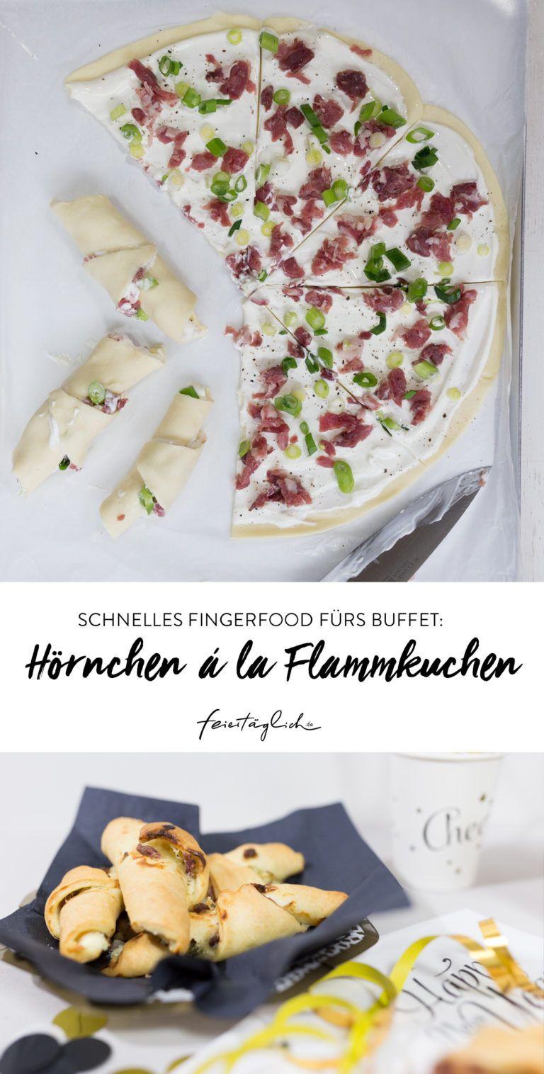 Schnelles Fingerfood fürs Silvesterbuffet: Hörnchen á la Flammkuchen. #happymottoparty Silvester – feiertäglich…das schöne Leben #buffet