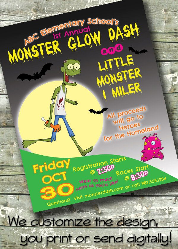 monster glow dash halloween fundraiser fun run race 5x7 invite 85x11 flyer - Halloween Fundraiser Ideas