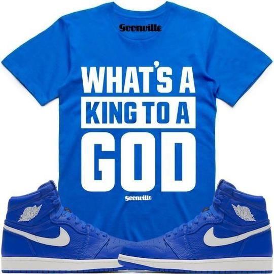2b3d639a834965 Goonville Clothing T-Shirt KING GOD Royal Blue Sneaker Tees Shirt - Jordan  1 Hyper Royal
