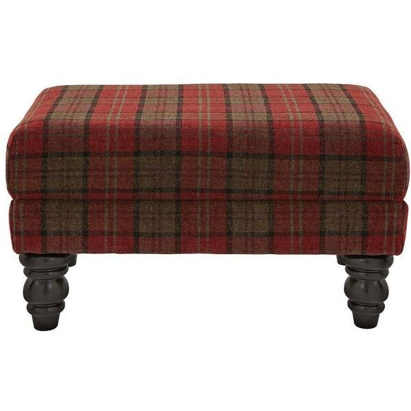 Orkney Tartan Print Accent Footstool (630 BRL) ❤ liked on Polyvore featuring home, furniture, ottomans, plaid furniture, colored furniture, cottage furniture, door furniture and cottage home furniture