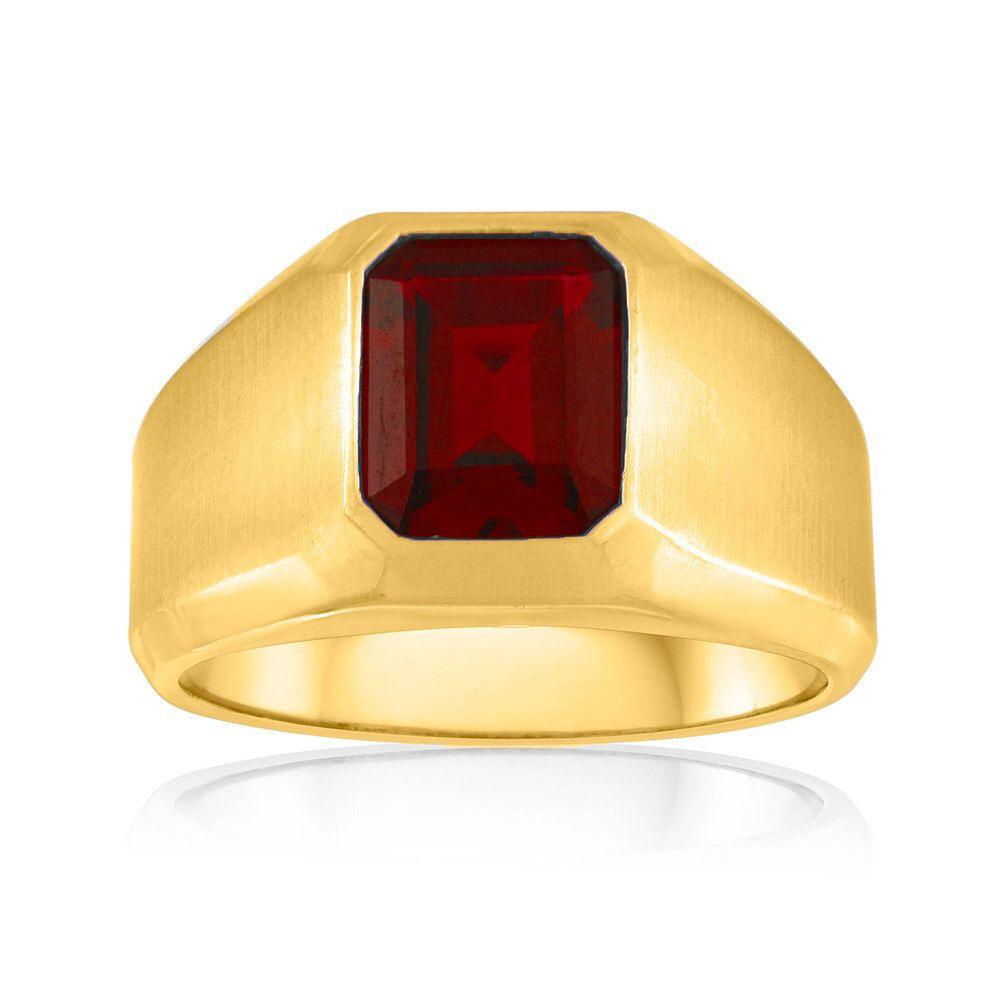 10k Yellow Gold Ring Natural Garnet Rings For Men Mens Gemstone Rings Red Gemstone Ring