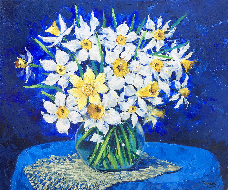 Daffodil Canvas Painting Daffodils Gold Framed Daffodils Original Daffodil Canvas Art Original Oil Painting Framed Oil Painting