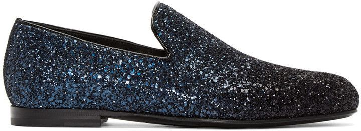 a05781c1f40e The Best Men s Shoes And Footwear   Jimmy Choo Navy   Black Glitter Sloane  Loafers