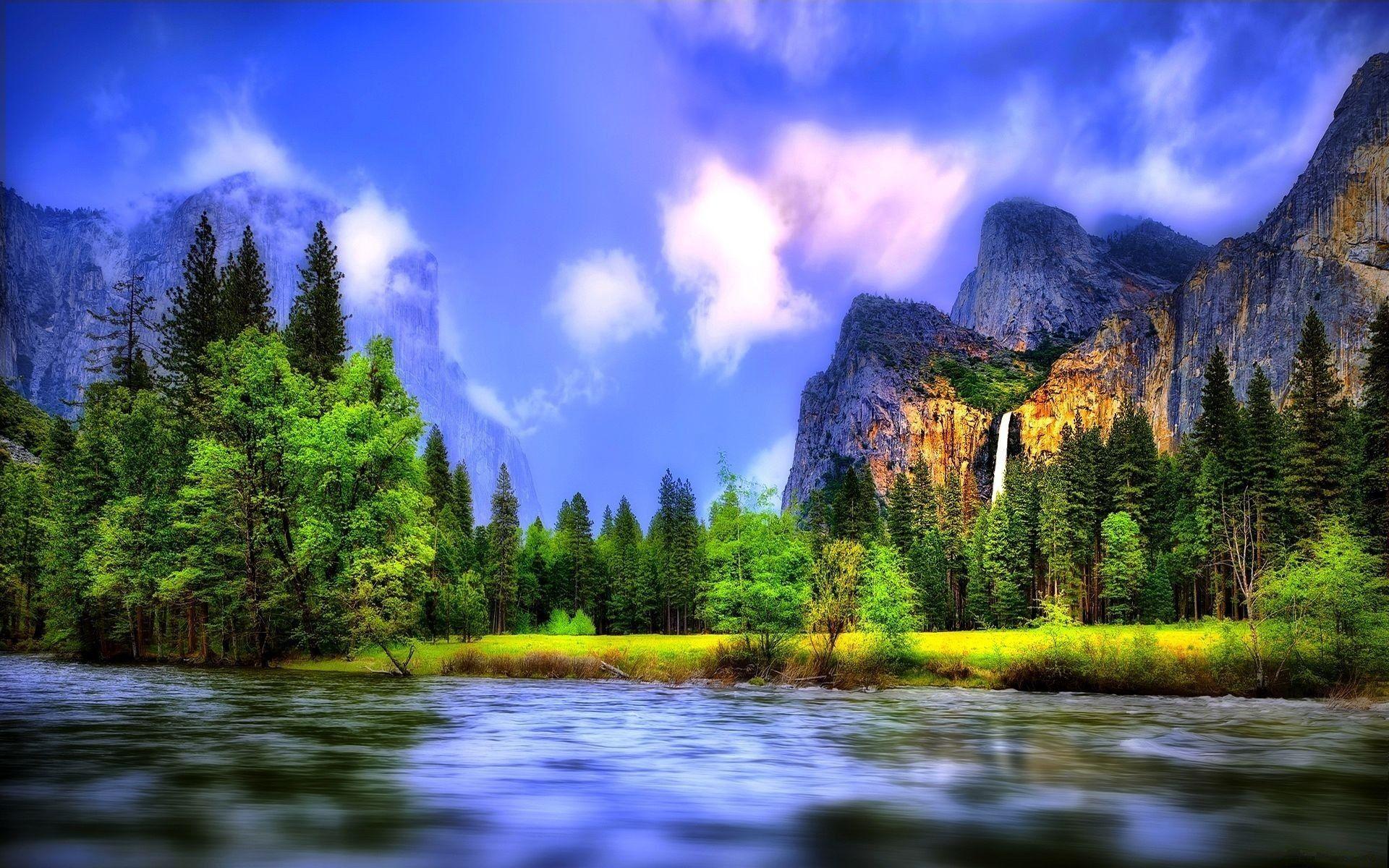 Beau Paysages Pourfont D Ecran Ehhd: Beau Paysage, Rivière, Forêt, Cascades, Montagnes Fonds D