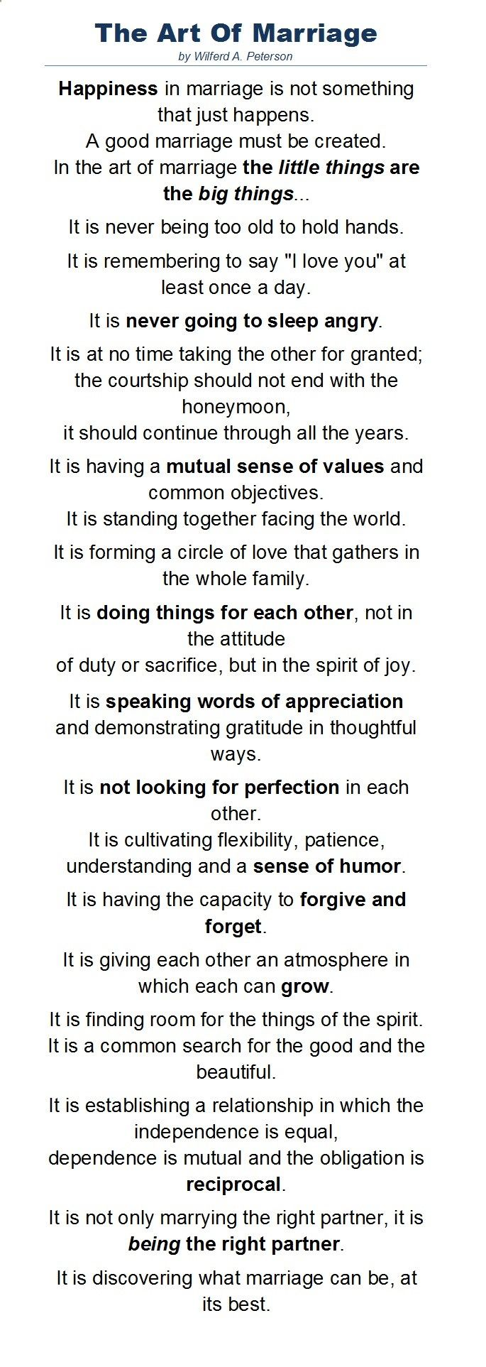 A Wonderful Poem By Wilferd Peterson About The Art Of Marriage Read At Paul Newman S Wedding To Joanne Woodward More