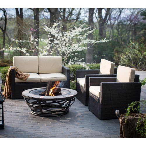 Great Palm Harbor Conversation Set With Glendale Fire Pit   Conversation Patio  Sets At Hayneedle