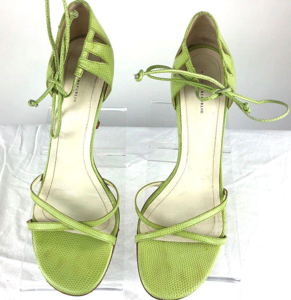 dae18310a5f Banana Republic Open Toe 10M Green Heel Ankle Tie Lace Green Leather Shoes  SPAIN  BananaRepublic  OpenToe  Casualcareer